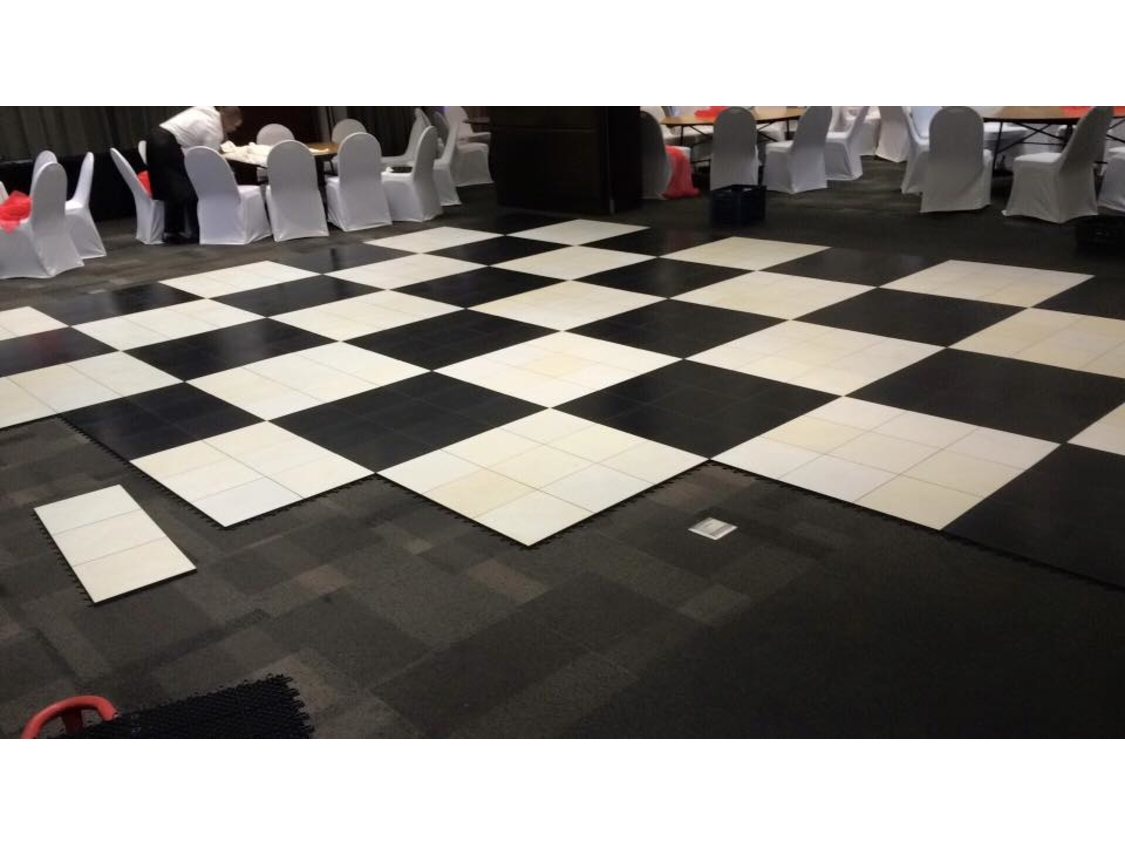 Dance Floor Hire | Black and White Checkered Portable Dance Floor | Hilton Hotel