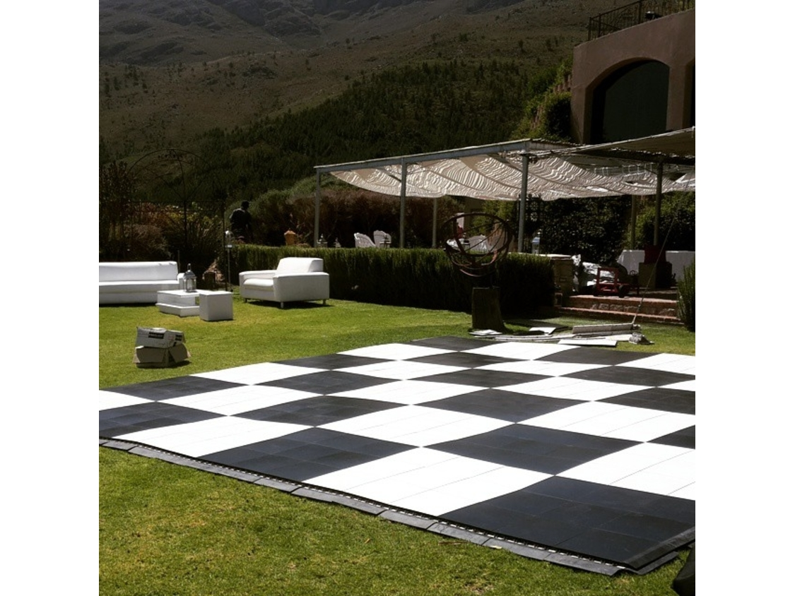 Dance Floor Hire | Black and White Checkered Dance Floor - Wedding at Dieu Donne Estate