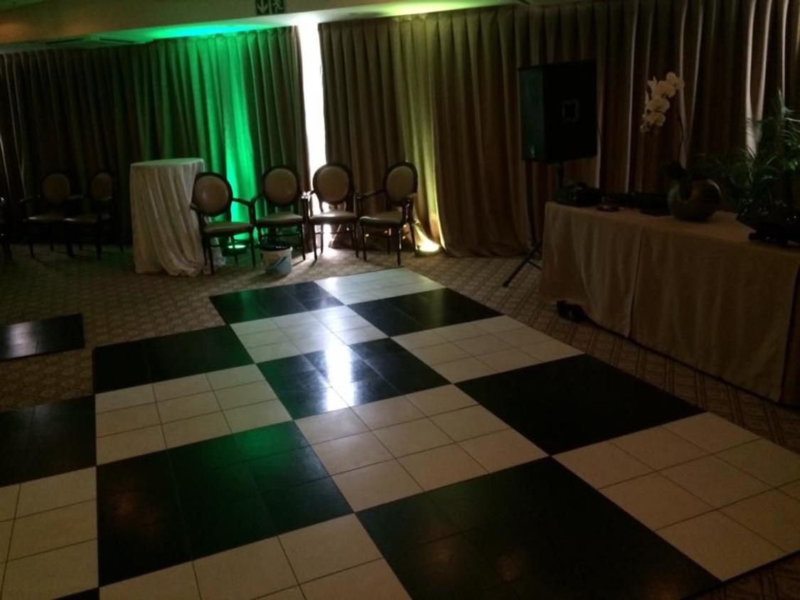 Dance Floor Hire | Black and White Portable Dance Floor | 12 Apsotles