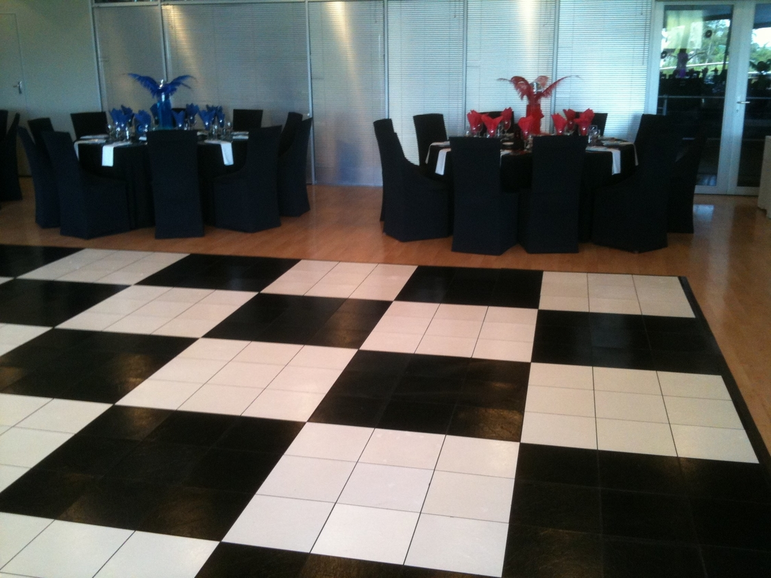 Dance Floor Hire | Black and White Portable Dance Floor - African Pride Crystal Towers Hotel & Spa
