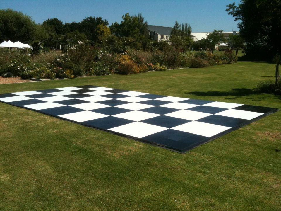 Checkered Dance Floor on Grass | Dance FLoor Hire