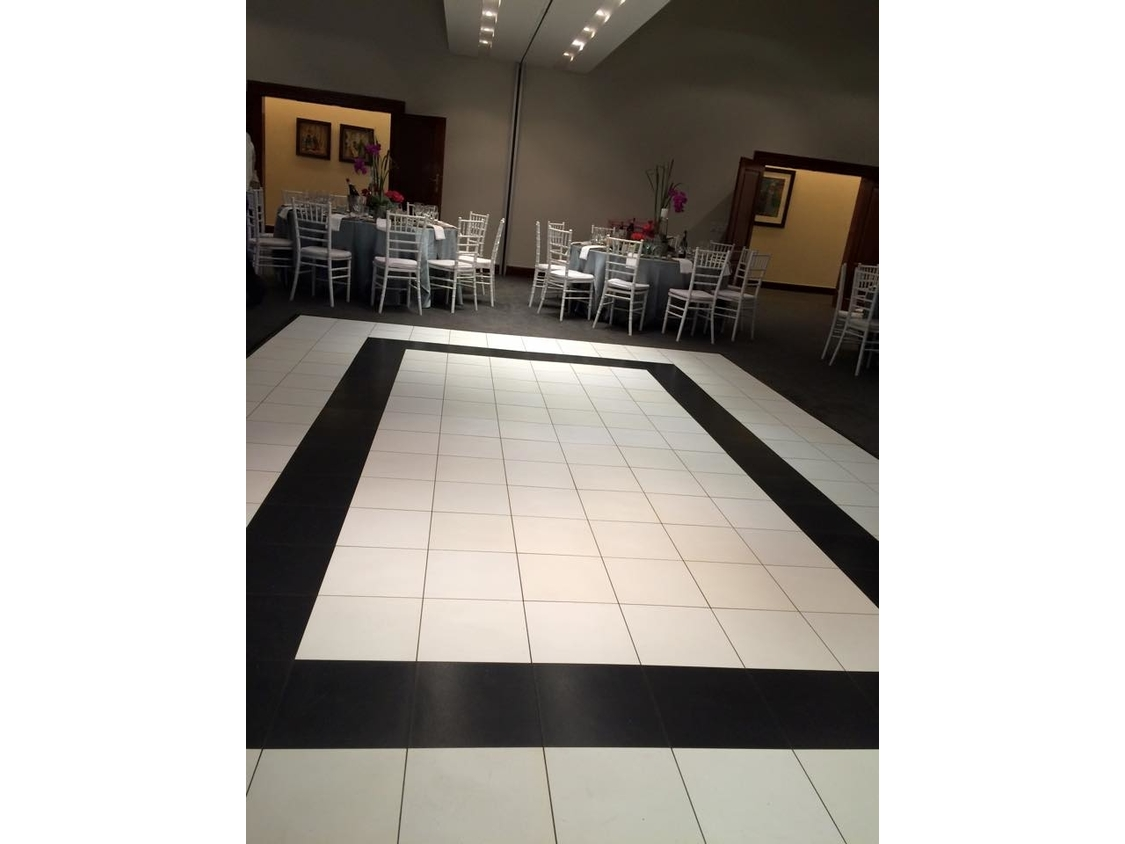Dance Floor Hire | White and Black style Portable Dance Floor at Spier Wine Farm
